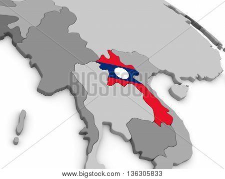 Laos On Globe With Flag