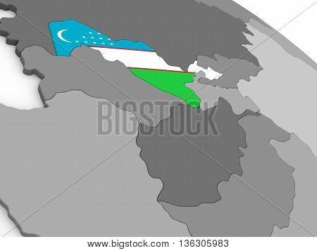 Uzbekistan On Globe With Flag