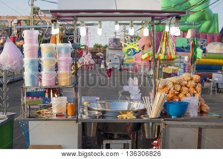 Funfair cotton candy stall back shop, Spain