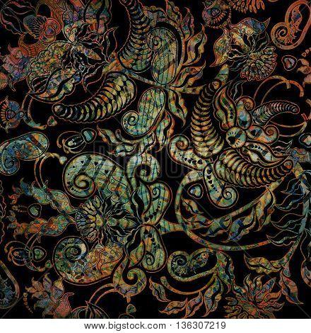 dark oriental floral pattern on black background