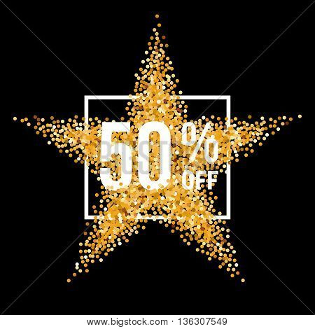 Golden Star and Frame with Discount Fifty Percent on Black Background
