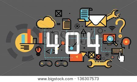 Concepts of terms 404 and under construction. Thin line flat design backgroundprogress project planning flat elements isolated illustrationFlat line illustration