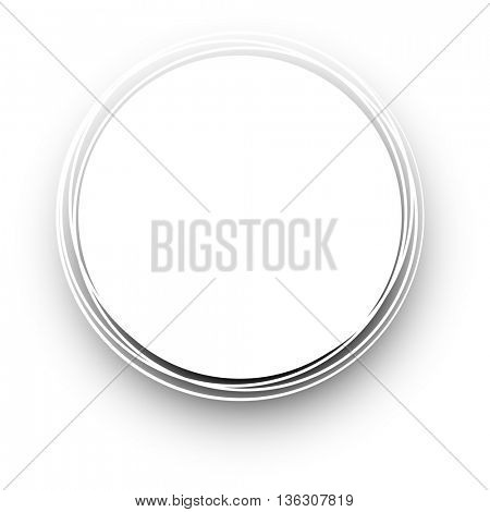 White round background. Vector paper illustration.