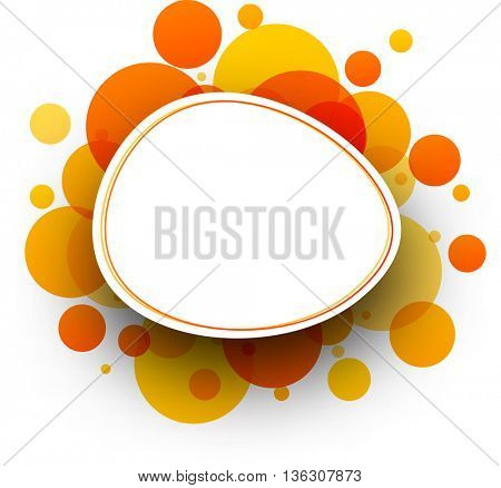 Paper white round background with orange bubbles. Vector illustration.