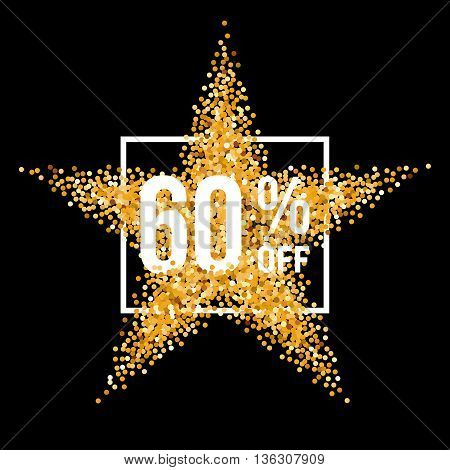 Golden Star and Frame with Discount Sixty Percent on Black Background