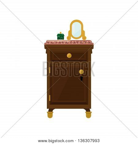 Antique Wooden Dresser And Mirror Flat Bright Color Vector Illustration On White Background