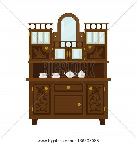 Antique Wooden Cupboard With China Flat Bright Color Vector Illustration On White Background Flat Bright Color Vector Illustration On White Background