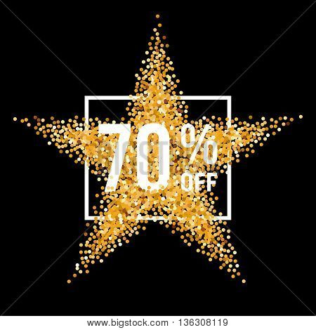 Golden Star and Frame with Discount Seventy Percent on Black Background
