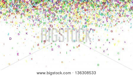 White paper background with color letters. Vector illustration.