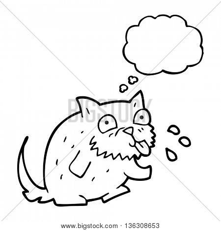 freehand drawn thought bubble cartoon cat blowing raspberry