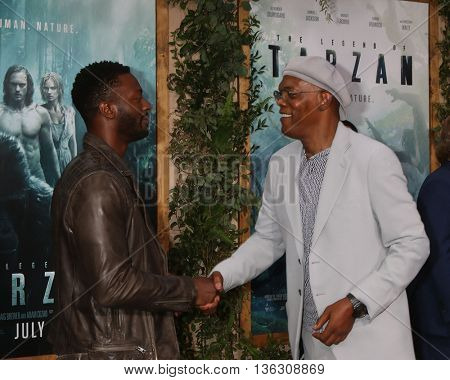LOS ANGELES - JUN 27:  Aldis Hodge, Samuel L. Jackson at The Legend Of Tarzan Premiere at the Dolby Theater on June 27, 2016 in Los Angeles, CA