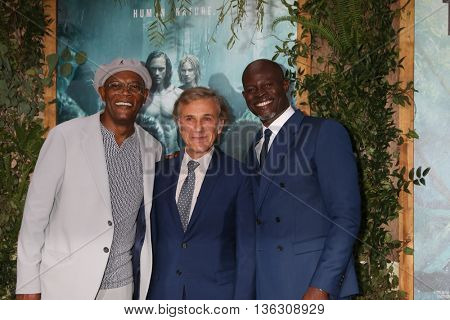 LOS ANGELES - JUN 27:  Samuel L. Jackson, Christoph Waltz, Djimon Hounsou at The Legend Of Tarzan Premiere at the Dolby Theater on June 27, 2016 in Los Angeles, CA