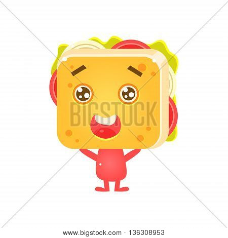 Sandwich Character Being Adorable Flat Childish Funny Design Vector Drawings Isolated On Dark Background