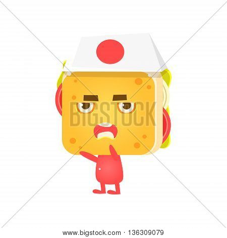 Sandwich Character Fighting Karate Flat Childish Funny Design Vector Drawings Isolated On Dark Background