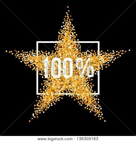 Golden Star and Frame with Discount One Hundred Percent on Black Background