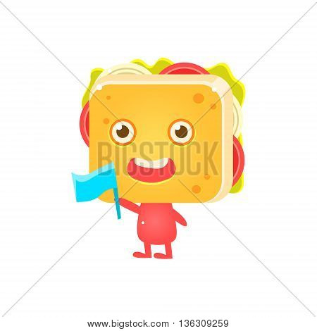Sandwich Character Cheering With Flag Flat Childish Funny Design Vector Drawings Isolated On Dark Background