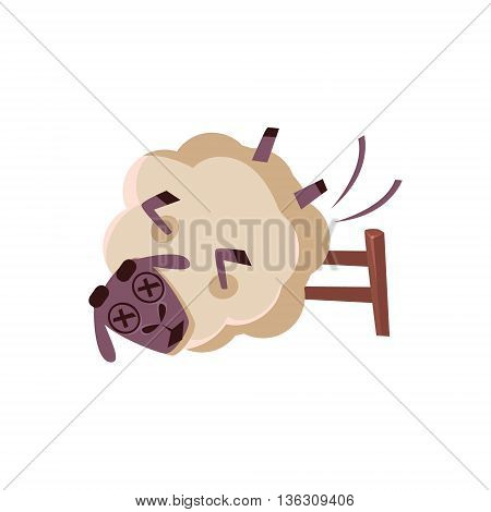 Sheep Falling From The Chair Cute Childish Style Bright Color Design Icon Isolated On White Background