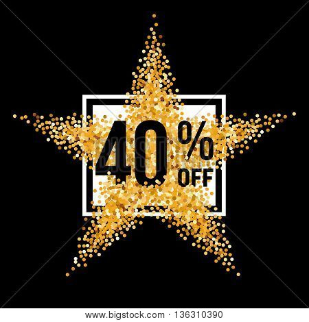 Golden Star and Frame with Discount Forty Percent on Black