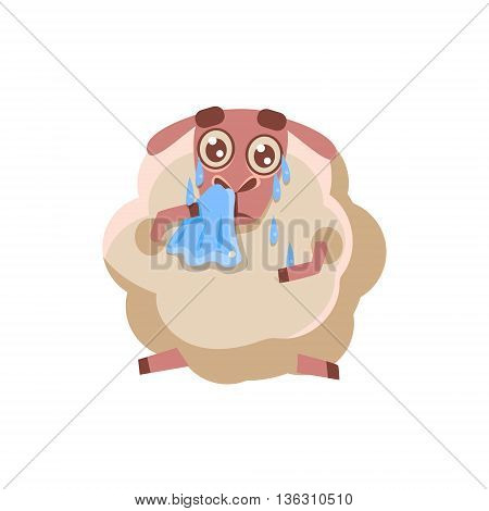 Sheep With The Handkerchief Crying Cute Childish Style Bright Color Design Icon Isolated On White Background