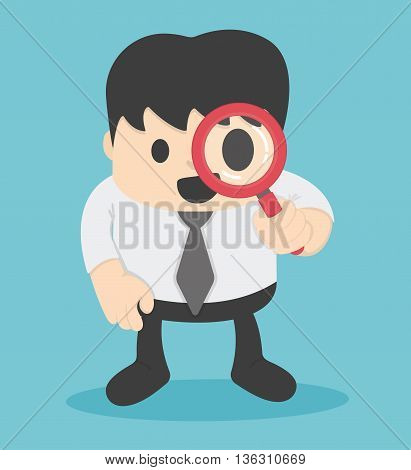 Businessman looking through a magnifying glass Illustration Concept