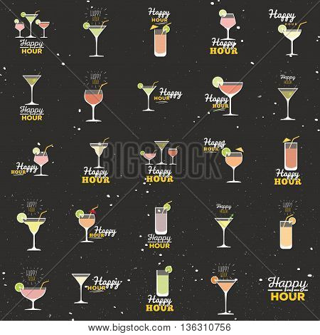 Abstract happy hour labels on a special background