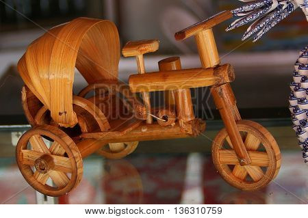 small toy handmade bamboo bicycle rickshaw in Songkhla, Thailand