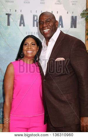 LOS ANGELES - JUN 27:  Cookie Johnson, Magic Johnson at The Legend Of Tarzan Premiere at the Dolby Theater on June 27, 2016 in Los Angeles, CA