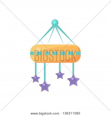Baby Bed Module Cute Childish Style Light Color Design Icon Isolated On White Background
