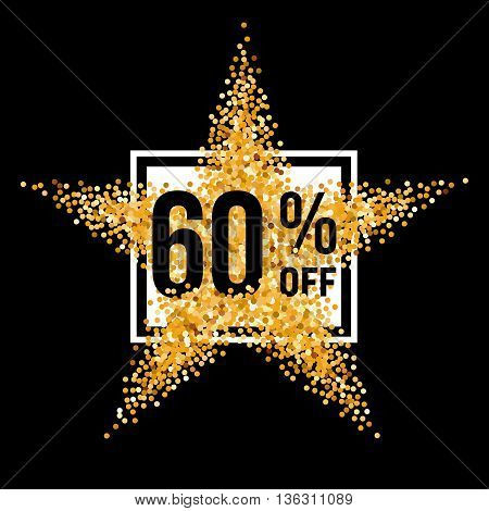 Golden Star and Frame with Discount Sixty Percent on Black