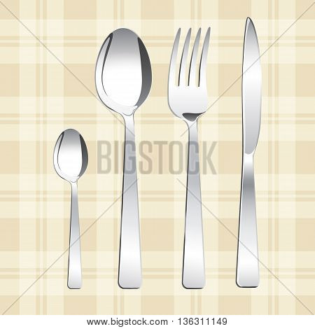 Tea spoon spoon fork and knife. Vector illustration