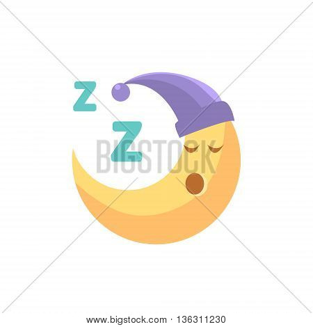Sleeping Cartoon Crescent Cute Childish Style Light Color Design Icon Isolated On White Background