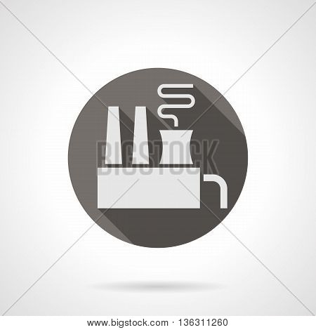 Abstract silhouette sign of manufacture building with long shadow design. Factory with chimneys and smoke. Power and heavy industry. Industrial facilities theme. Round flat color style vector icon.