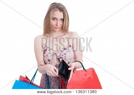 Poverty Concept With Young Shopaholic Having No Money