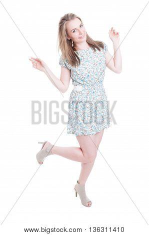 Cheerful Beautiful Woman Posing In Summer Dress