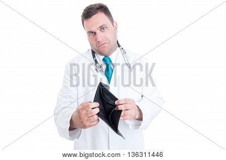 Young Male Medic Showing His Empty Wallet