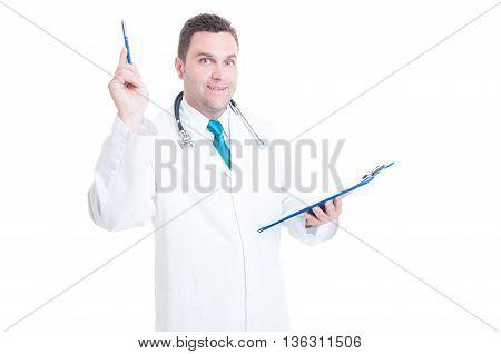 Male Medic Having A Great Idea Holding Clipboard