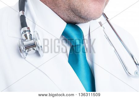 Close-up Of Doctor Necktie With Stethoscope