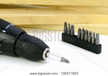 Cordless Screwdrivers With Various Kind Of Screw Tips.