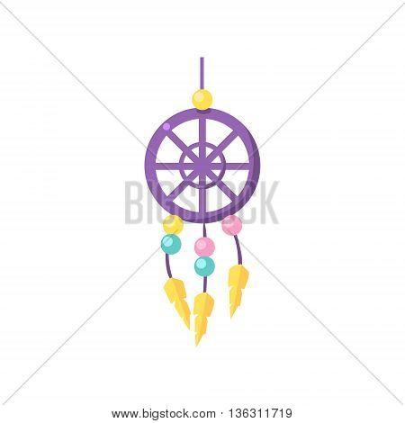 Toy Dream Catcher Cute Childish Style Light Color Design Icon Isolated On White Background