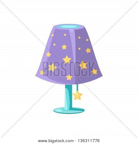 Night Light With The Stars Cute Childish Style Light Color Design Icon Isolated On White Background