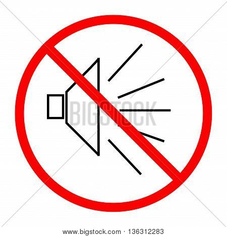 No noise sign in red circle on white background. Symbol silence. Forbidden volume mark. Ban speaker. Flat vector image. Vector illustration.