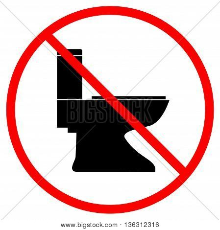No toilet icon in red circle on white background. Symbol warning no do toilet. Flat vector image. Vector illustration.