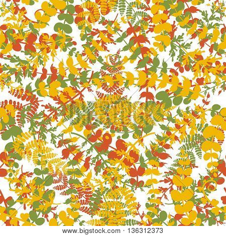Seamless plant background. Endless autumn pattern with orange brown green twigs and leaves silhouette. Vector illustration on white background