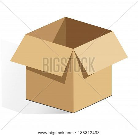 Illustration of vector brown cardboard on white background