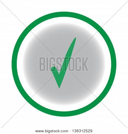 Tick green sign on a gray circle. Isolated on white background. Symbol correct in green circle. Positive marks. Agree choice sticker . Flat vector image. Vector illustration