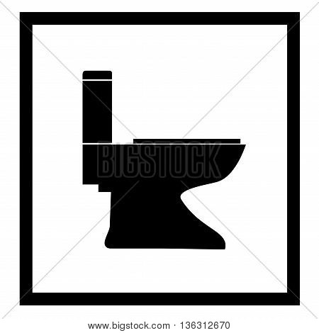 Toilet icon in black square on white background. Symbol sanitary clean. Sign warning do toilet. Flat vector image. Vector illustration.