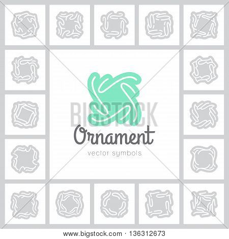 set of vector ornate symbols and frames, vintage design elements