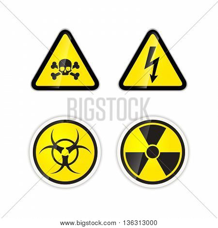 Set of four bright warnings signs for high voltage radiation biohazard and poison isolated on white