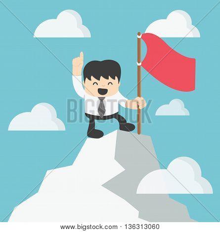 Illustration Concept Businessman Climbing atop Peak  eps.10