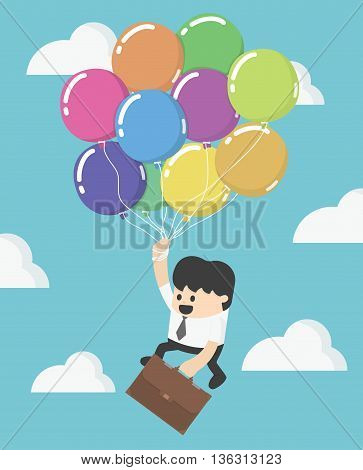 Businessman fly up away high on balloon. Young successful businessman flies on colorful balloon